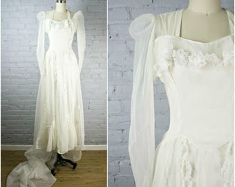 1940s wedding gown . sheer vintage 40s white wedding dress with long sleeves and train . retro wedding small