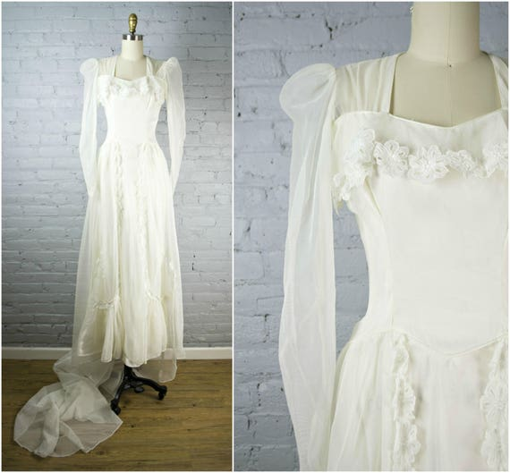 1940s wedding gown . sheer vintage 40s white wedding dress