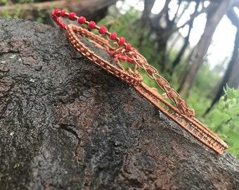 Hand woven copper bangle set
