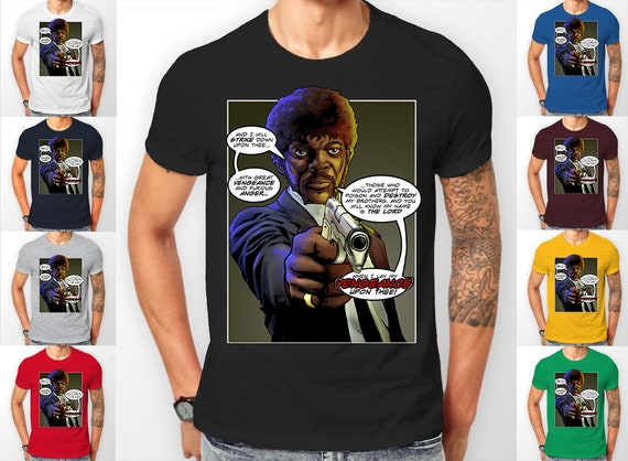 Pulp Fiction Jules Bible Speech gun scene (Sam Jackson) Tee shirt T-Shirt