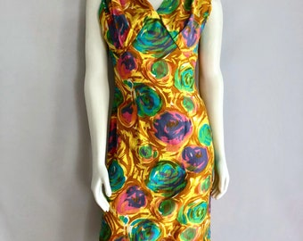 Vintage Women's 50's Floral, Wiggle Dress by Nicole (M)