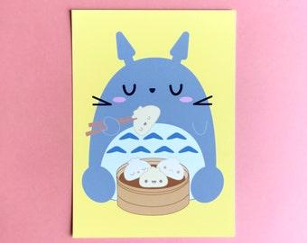 5x7 Art Print Totoro & Dumplings