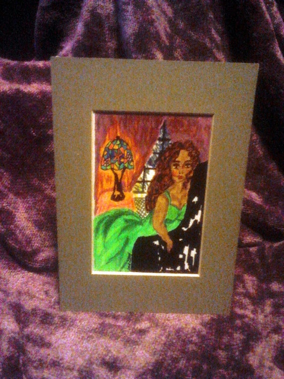 Original Hand Painted Blank Greeting Card, African American Art, LAZY MONDAY AFTERNOON, Frame Or Mail, Outsider Folk Artist Stacey Torres