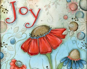 Joy Wildflower Print~ Flower Art~ Wall Art~ Children's Wall Prints~ Wildflower Decor Theme~ Coral Blue~ Home Decor~ Home Wall Art~ Foyer