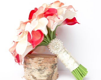 CORAL WEDDING BOUQUET - Calla Lily Wedding Bouquet , Coral Real to touch calla Lily , Coral and Ivory Bridal Bouquet