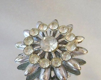 BIG SALE Vintage Rustic 1940s Rhinestone Brooch.  Pot Metal and Rhinestone Pin.  Wedding Flower Brooch.  Star Mum Brooch.
