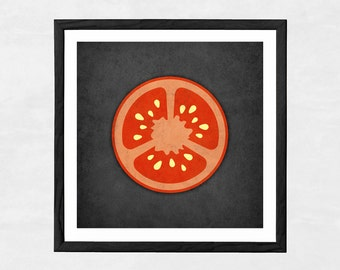 Vegetable print Tomato print red kitchen print Tomato poster red kitchen poster vegetable poster kitchen decor housewarming gift LatteDesign
