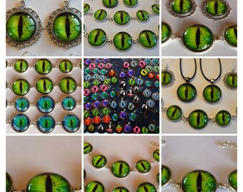 Stunning Green Dragon Eye Jewellery Set with Special Offer Free Keyring