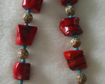 Chunky Coral, Turquoise, Nut Necklace