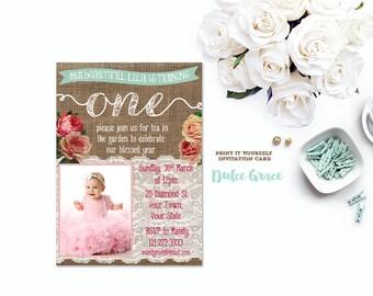 first birthday invitation, 1st birthday invitation, photo invite, baby girl invite, shabby style, child birthday, digital invitation