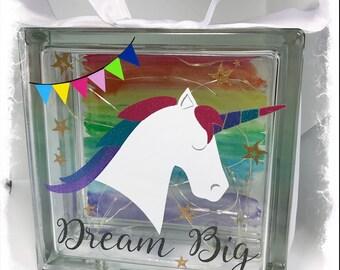 BRAND NEW Clear Glass Block Light - Unicorn   Dream Big   Rainbows