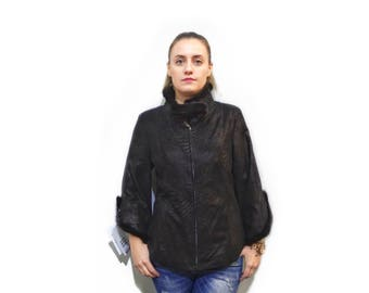 Black Leather Jacket with Mink F731