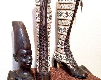 1970s Tapestry Boots Size 7B. Vintage Espresso Brown Patent Leather Lace Up Boots. Ivory Knee High Granny Boots. Prairie Hippie Boho Boots