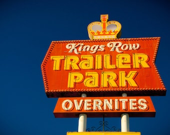 King's Row Trailer Park | Sign with Crown | Vintage Las Vegas | Neon Sign Art | Mid Century Modern Home Decor | Fine Art Photography