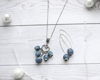 Berry set, blueberries, blueberry, bilberry, blueberry pendant, blueberry earrings, berry earrings