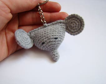 Crochet elephant key ring bag charms amigurumi elephant animal love handmade crochet crochet gift ideas  money bag charm small gift ideas