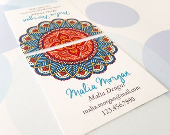 Mandala Business Cards, Custom Business Cards, Set of 48