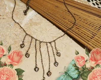 Vintage Necklace Rhinestone Heart Drops Dainty Chain Statement Necklace