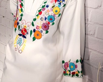 Vintage Mexican Floral Tunic Top