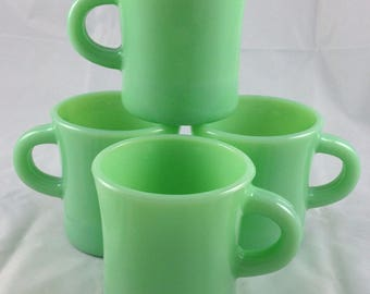 New mint (2) available Jadeite jadite coffee mugs cups restaurant C handle unsigned un-used