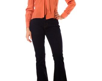 1960s Vintage Vibrant Orange Silk Blouse  Size: S/M