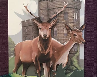 Highlands Illustrated Scottish Stag Wedding Invite | Tartan Wedding Invitation | Scotland Event Stationery