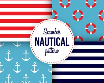 4 Seamless Nautical Patterns