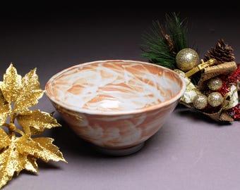Handmade Bowl - Ceramic Cereal Bowl - Orange and White Pottery Bowl - Shino Cereal Bowl - Snack Bowl