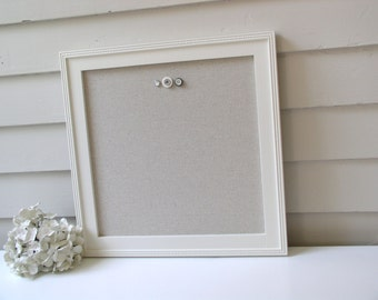 Magnetic Bulletin Board - China White with Taupe Cotton Fabric- 16 x 16 inch Handmade Wood Frame Memo Board and Button Magnets