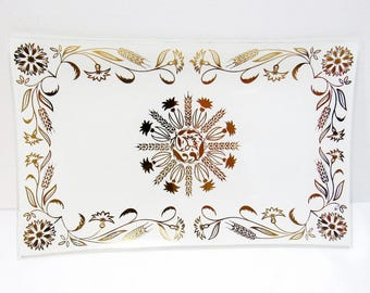 Golden Wheat: Clear Glass Tray with Opaque Background and Metallic Gold Wheat/Floral Design ~ Mid-Century - FREE Shipping