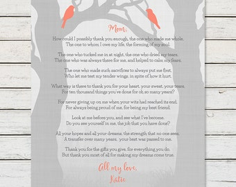 GIFT FOR MOM from Daughter, Mom Poem Print, Mom Birthday Gift, Mothers Day Gift, Gift for Mom, Gift for Mother, Thank you Mom Art Print