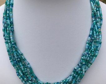Teal Multistrand Seed Bead Necklace