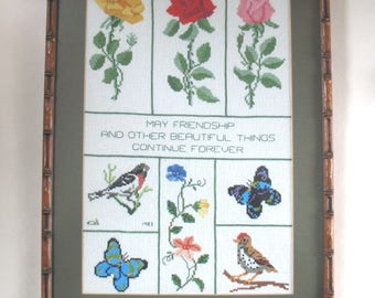 Vintage Cross Stitch Picture, Friendship Quote, Flowers Birds Butterflies 1983, Framed Needlework