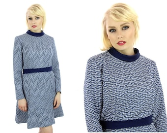 60s Mod Dress Vintage Circle Skirt Mini Skater Skirt Sixties 1960s Navy Blue White 70s 1970s Medium M