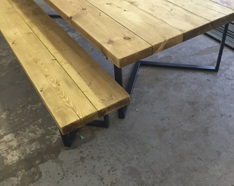 LENGO (Set)  - Handmade Industrial Chic Reclaimed Wood w Steel Chevron Style Legs Table with matching bench Cafe Bar Restaurant.