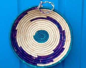 "FREE SHIPPING-Vintage 10"" Colorful Round Coil Basket-Turquoise & Purple-Native American Style-Jungalow Style-Bohemian-Hippie-Wall Decor"