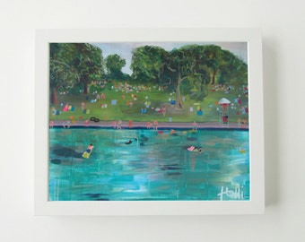 Barton Springs Pool- Art Print, Wall Art, Barton Springs Painting, Landscape Painting, Blue, Green, Austin Texas, Colorful Print, Playful
