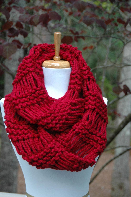 Cranberry rot stricken Infinity Schal klobige Schal Circle