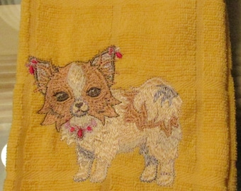 kitchen towel dog embroidered