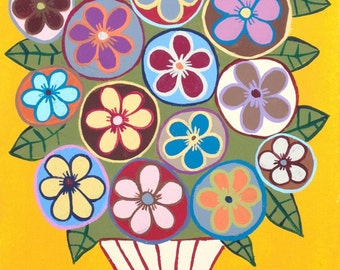 Kerri Ambrosino PRINT Mexican Folk Art  Talavera Flower Pot Daisies