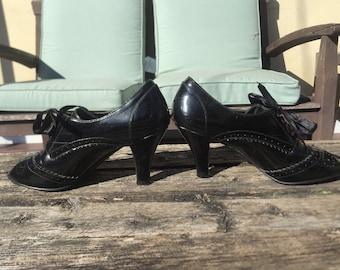 Black Patent Leather Oxford Peep Toe Sandals Heels