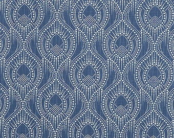 Navy Blue Home Decor Fabric by the Yard Designer Subtle Geometric Fabric Cotton Drapery Curtain Fabric Upholstery Fabric Navy Fabric C754