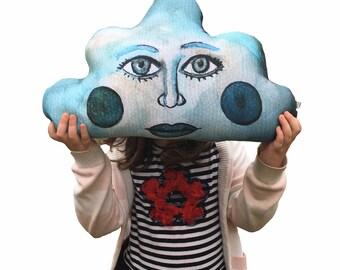 Cloud face, stuffed pillow, plush toy, nursery, collection, illustration, modern