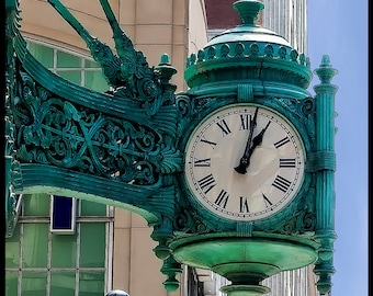 Time Standing Still - Chicago photography - State Street Landmark - Fine art travel photography - Art Deco - patina, green