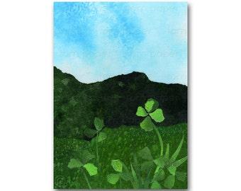 Lucky 4 Leaf Clover - Childhood Memories - Good Luck Card - Friendship - Retirement - St Patrick's Day Card (CMEM2013060)