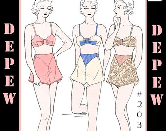 Vintage Sewing Pattern Multi-Size Reproduction 1930's Bra and Panties #2034 - INSTANT DOWNLOAD