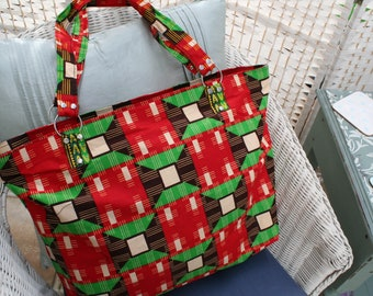 Tote Bag (Large) - Zipped Top - Traditional African Kitenge Fabric - Red Green Brown