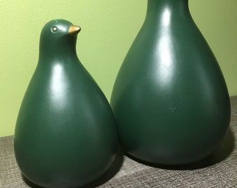 Pair of vintage ceramic green and gold birds