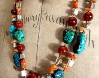 Turquoise, Red Agate, Amber Aventurine and Mother-of-Pearl Chunky Beaded Necklace | Double Strand | 24""