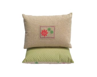 Embroidered Snowflake Pillow - Throw Pillow - Sweater Pillow - Shabby Chic - Upcycled - Cottage Chic Decor - bedroom pillow - couch pillow